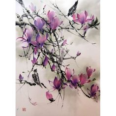 Magnolia and Sparrows Japanese ink painting by Suibokuga on Etsy