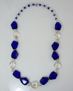 Crystal Blue Necklace by SigneCharlie on Etsy, $54.09
