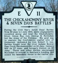 Chickahominy River & Seven Days' Battles Mystery Of History, World History, Confederate Monuments, Virginia History, Native American Artwork, History Classroom, American Revolutionary War, America Civil War, Civil War Photos