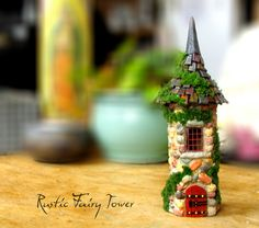Rustic Stone Fairy Tower - Handmade Miniature Fairy Garden House with Wooden…