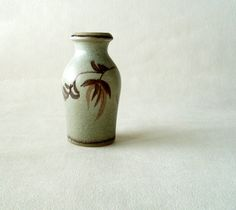 Scheurich vase 523-18, natural stone color tones with leaf decor, Mid Century Modern vase, Vintage WGP by Cherryforest on Etsy