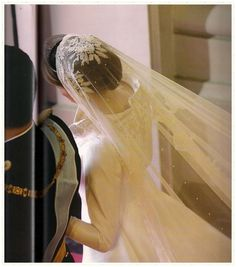 royaland:  Crown Prince Felipe and Crown Princess Letizia on their wedding day, 2004-overview of the bride's veil and tiara