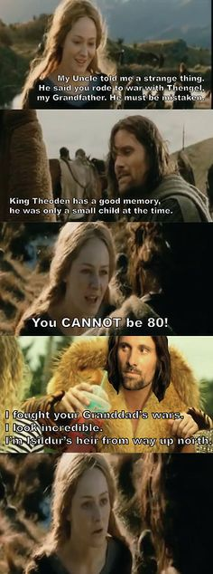 Aragorn and Eowyn meet up with Mackelmore....