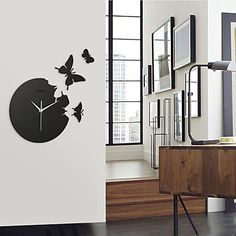 "14.3"" Butterfly Acrylic Mute Fashion Wall Clock – USD $ 29.99"