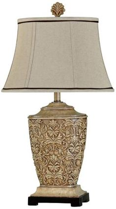 Stylecraft Tortola Carved Cream Table Lamp with Natural Softback Fabric Shade Beige Table Lamps, Cream Table Lamps, Light Bulb Wattage, Luminaire Design, Fabric Shades, Lamp Bases, Light Table, Light Shades, Home Collections