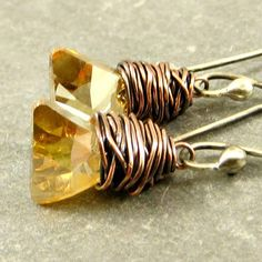 Triangle Crystal Earrings, Crystal Earrings, Wire Wrapped Jewelry Copper Jewelry Gifts for Her by adorned7 on Etsy