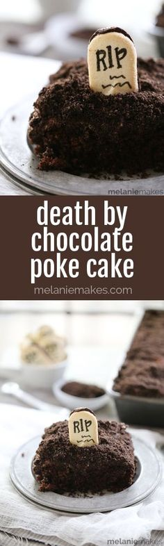 I dare you to figure out a way to add more chocolate to this easy and indulgent Death By Chocolate Poke Cake! A chocolate fudge cake mix is studded with dark chocolate chips before then being flooded with chocolate fudge pudding. Add dark chocolate ganache, chocolate whipped topping, and two types of chocolate cookies and you've got the perfect dessert for Halloween or any other day of the year!