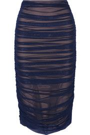 Norma Kamali Ruched stretch-mesh skirt