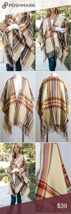 """Boho Fringe Acrylic Sweater Kimono Wrap O/S Be cozy & cute in this adorable plaid kimono cardigan wrap blanket scarf. Soft light-midweight acrylic knit in taupe, black red & yellow with fringe hem. Love it so much.  Poncho - kimono wrap - blanket scarf style cardi WITHOUT armholes. Oversized slouchy loose fuzzy  46"""" x 35"""" One Size Fits Most long Accessories Scarves & Wraps"""