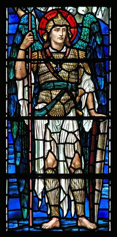 The Archangel Michael stands tall in this stained glass window panel. Saint Michael, St. Michael, Stained Glass Church, Stained Glass Angel, Stained Glass Windows, Window Glass, Angel Protector, Saint Gabriel, Angel Images