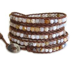 Chan Luu Stone African Opal Natural Leather Wrap Bracelet