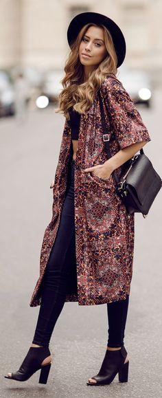 Monki Brown Multi Graphic Print Half Sleeve Midi Coat by Kenzas