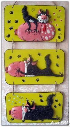 Кот и колбаса - серия панно для кухни - жёлтый,кот,котик,коты,котенок