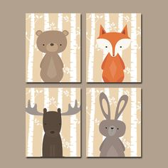 Woodland Nursery Birch Wood Forest Animals Wall Art CANVAS or Prints Girl Bedroom Forest Wood Fox Bear Rabbit Moose Set of 4 Girl Nursery