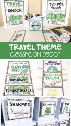 A travel theme classroom makes it easy to incorporate social studies, geography and holidays around the world! This kit includes everything you need to decorate and organize your travel themed classroom.