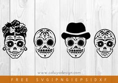 Free Hand-drawn Sugar Skull SVG, PNG, EPS & DXF by Caluya Design. Compatible with Cameo Silhouette, Cricut and other major cutting machines!Perfect for your DIY projects, Giveaway and personalized gift. Link Halloween, Halloween Themes, Halloween Pumpkins, Calavera Simple, Free Svg, Reindeer Face, Free Hand Drawing, Clipart, Silhouette Cameo