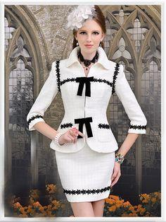 Morpheus Boutique  - White Floral Lady Trendy Shoulder Bow 3/4 Sleeve Knit Jacket