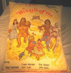 Vintage WIZARD OF OZ Large Pillow! W/Actors Names!