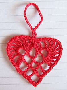 Scandinavian Crochet Heart Ornament  by Teresa Kasner
