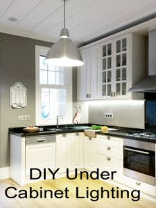 DIY Under cabinet lighting. This makes such a big difference in your kitchen.
