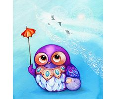 OWL Art - Spring Clouds - Cute Owl Nursery Painting Wall Art - Purple Violet Baby Blue White