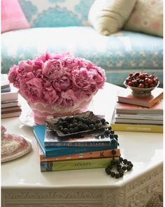 . table decorations, floral fanci, books, pink flowers, at home, couches, blues, pink peonies, floral fashion
