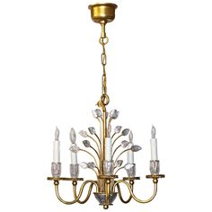 Baguès Style French Five-Light Floral Crystal Chandelier | From a unique collection of antique and modern chandeliers and pendants  at https://www.1stdibs.com/furniture/lighting/chandeliers-pendant-lights/