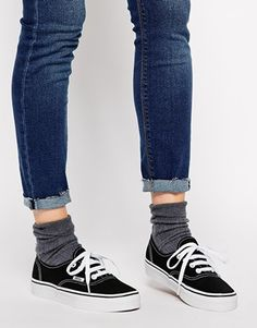 d495c501164e5 Vans Authentic Classic Black and White Lace Up Trainers at asos.com