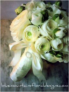 Ranunculus Wedding Bouquet# Ivory Bridal Bouquet www.bluemountainsfloraldesigns.com