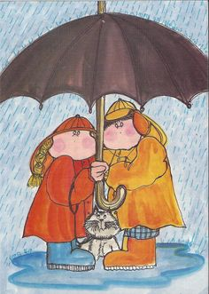 umbrellas by quenalbertini - Together in a rainy day, Virpi Pekkala illustration...