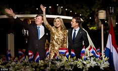Maxima wave as they leave with Prime Minister Mark Rutte on a boat after the event...