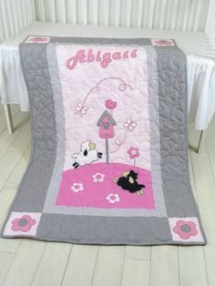 Pink Gray  Baby Blanket,  Personalized Lamb  Crib Blanket, Organic Child Bedding by Customquiltsbyeva on Etsy