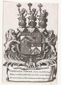 Anonymous | Wapen van Cornelis Tromp, 1692, Anonymous, 1692 - 1749 | Het wapen van Cornelis Tromp, overleden 29 mei 1692.