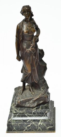 ÉDOUARD DRUOT (1859 - 1945) - Belíssima escultura art nouveau em bronze francês, circa 1900, represe