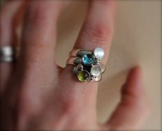 Birthstone Ring Fairy Tale Ring Sterling Silver by KittyStoykovich, $84.00