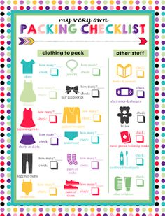 Packing checklist, packing list for travel, camping packing lists, holiday. Packing List For Disney, Travel Packing Checklist, Printable Packing List, Packing List For Vacation, Camping Packing, Camping Checklist, Packing Tips, Travel Essentials, Holiday Packing List Kids