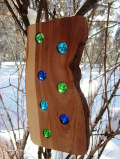 Suncatcher Spinner Cedar Wood Art Rustic Modern Country Decor Valentine Montana Made Wedding Decor Vintage Marbles Clearies OFG Team FTTeam