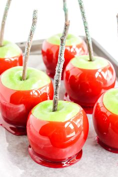 This recipe for Easy Homemade Candy Apples combines fresh apples, sugar, corn syrup and red food coloring to make fall's favorite homemade treat! Apple Recipes, Fall Recipes, Colored Candy Apples, Make Your Own Granola, Classic Candy, Fall Treats, Party Treats, Best Candy, Homemade Candies