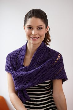"""Royal Triangle Shawl - SKILL LEVEL:  BeginnerSIZE: About 52 x 24""""  Heartland 100% Acrylic; 5.00oz/142.00 gr. (251yds/230m) 2 skeins, K hook  Shawl is worked from the point up.     free pdf from Lion Brand"""