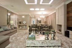 Sala - lareira - Projeto: Silvana Margarin Produto: Cerâmica Portinari, Salas, Rooms