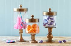 Make Lidded Apothecary Jars - Dollar store craft, so awesome! Could paint white and then fill glass jars with Easter candy too!