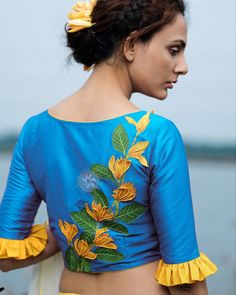 Blouse Back Neck Designs, Modern Blouse Designs, Fancy Blouse Designs, Kurta Designs Women, Blouse Neck Designs, Embroidery Suits Design, Embroidery Blouses, Indian Fashion Dresses, Sleeves Designs For Dresses
