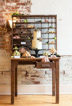 Modern Rustic Dessert Bar {photo by: Svetlana HillKovich} Dessert Bar Wedding, Wedding Cake Stands, Wedding Desserts, Wedding Cakes, Wedding Favors, Wedding Decorations, Dessert Table Decor, Dessert Buffet, Dessert Bars