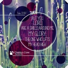 """Psalm 33: """"But you my lord are a shield around me, my glory, the one who lifts my head high"""""""