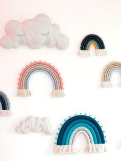 Fibre art rainbows with clouds on wall Rainbow Nursery, Rainbow Wall, Rainbow Print, Boho Nursery, Nursery Wall Art, Nursery Decor, Nursery Room, Pink Wall Art, Rainbow Painting