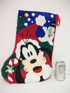 HUGE Disney Goofy Christmas Stocking Felt w Candy Cane Snowman Lined VTG 1990's