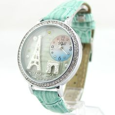 Mint Green Polymer Clay Eiffel Tower Watch