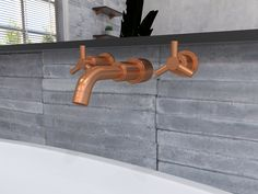 3D Rendering showing closeup of bathroom fittings in Copper finish with Wolkberg Iva Wall Tile behind and Arkivio mirror - bevel.co.za #bathroom #3D mirror Interior Rendering, 3d Rendering, Interior Design, 3d Mirror, Wall Tiles, 3 D, Parks, Sink, Copper