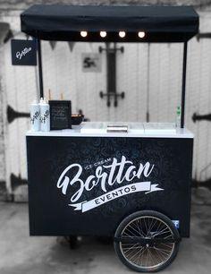 White and black branding Food Stall Design, Food Cart Design, Food Truck Design, Coffee Carts, Coffee Truck, Food Box, Bike Food, Velo Cargo, Ecole Design