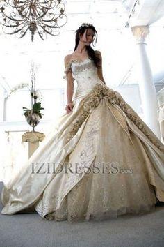 Ball Gown One Shoulder Satin Wedding Dress - IZIDRESSES.COM at IZIDRESSES.com